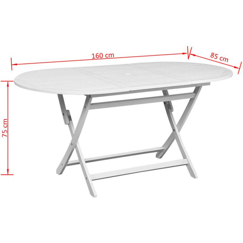 mesa comedor ovalada para exterior de madera de acacia blanca -
