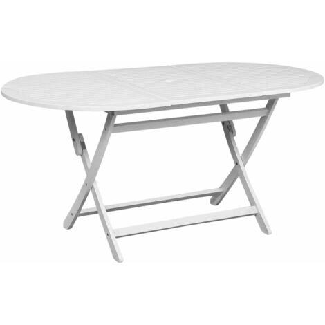 mesa comedor ovalada para exterior de madera de acacia blanca