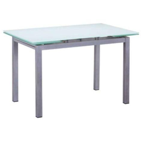 Mesa comedor rectangular Dario extensible cristal Color Blanco