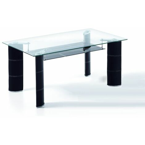 Mesa comedor rectangular de 130 x 80 sobre cristal y patas tapizadas en color negro modelo ARANJUEZ