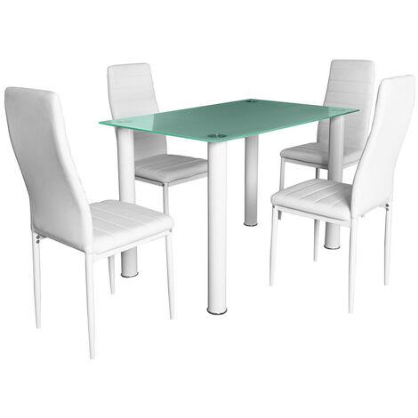 """main image of """"Mesa con 4 sillas dt-18 negro, cristal templado , con sillas C-05 negro, asiento poli-piel, estructura metalica resistente, con un toque juvenil a su salón ó cocina"""""""