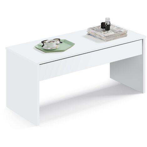 Mesa con mecanismo elevable en la tapa, abierta tiene una altura de 58 cm y cerrada 47x100x50cm(alto x ancho x profundo), color blanco, colección Oslo, kamet