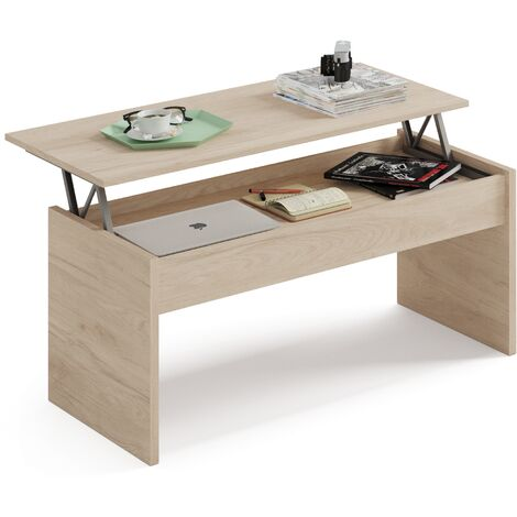 Mesa con mecanismo elevable en la tapa, abierta tiene una altura de 58 cm y cerrada 47x100x50cm(alto x ancho x profundo), color roble aurora, colección Oslo, kamet