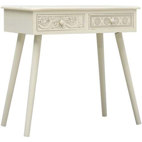 Mesa consola con 2 cajones tallados madera gris 80x40x77,8 cm