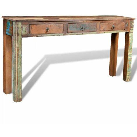 Mesa consola con 3 cajones de madera reciclada