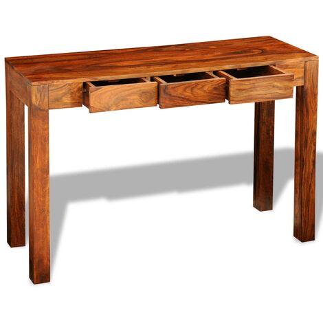 Mesa consola con 3 cajones madera maciza sheesham 80 cm