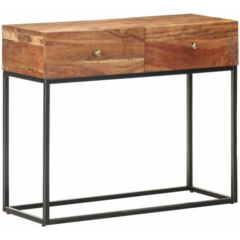 Mesa consola de madera de acacia rugosa 90x35x75 cm
