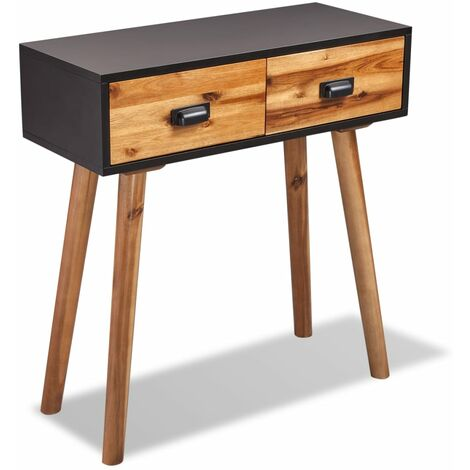 Mesa consola de madera maciza de acacia 70x30x75 cm