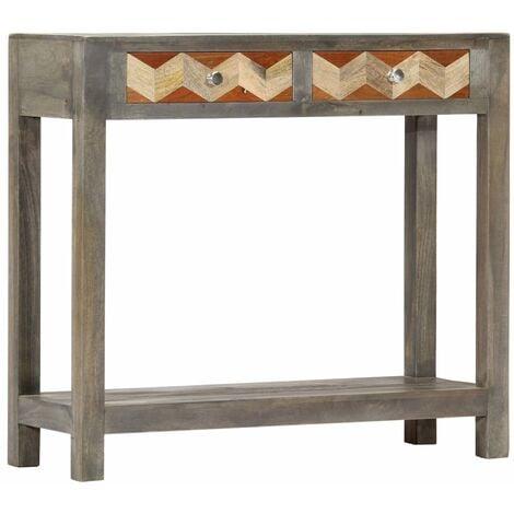 Mesa consola de madera maciza de mango gris 86x30x76 cm