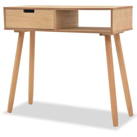 Mesa consola de madera maciza de pino 80x30x72 cm marrón