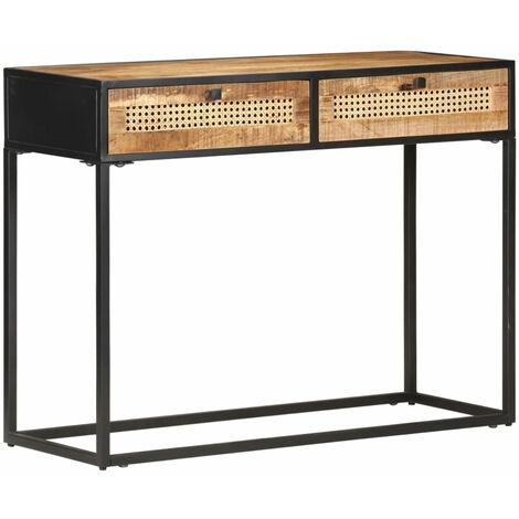 Mesa consola madera de mango rugosa y cana natural 100x35x75 cm