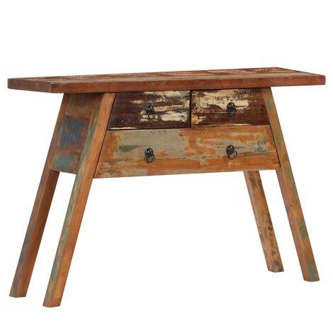 Mesa consola madera maciza reciclada 110x30x75 cm