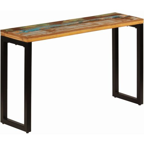 Mesa consola madera maciza reciclada y acero 120x35x76 cm