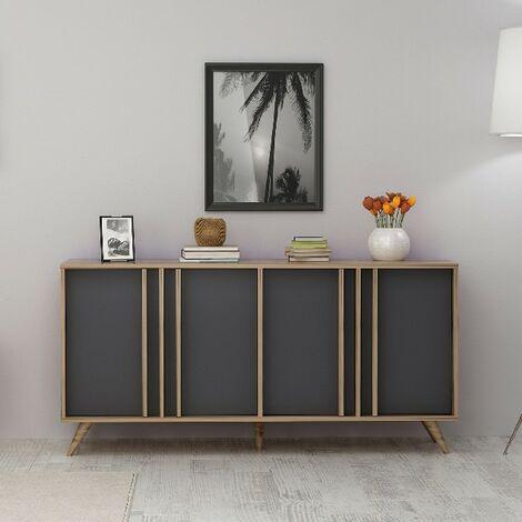 Mesa Consola Rilla con Puertas - para Salon, Estudio, Entrada - Nogal, Antracita en Madera, 160 x 40 x 79 cm