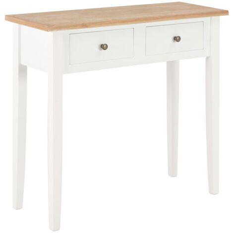 Mesa consola tocador de madera blanca 79x30x74 cm