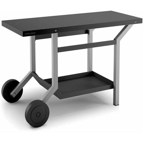 Mesa corrediza de acero negro y gris mate para plancha