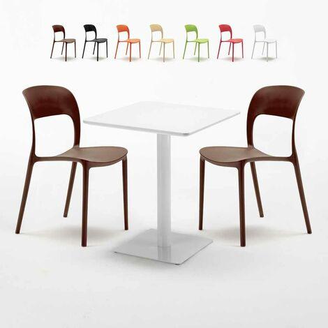 Mesa Cuadrada Blanca 60x60 cm con 2 Sillas De Colores Restaurant Lemon
