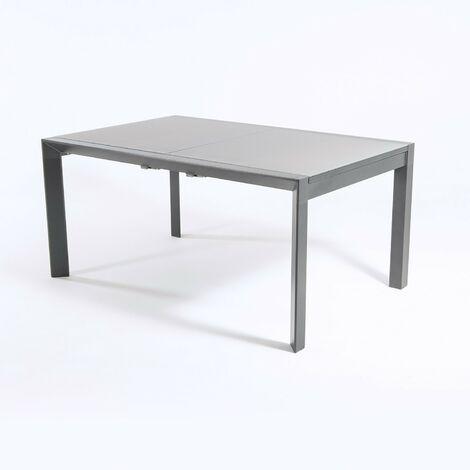 Mesa de aluminio con tablero de cristal grueso