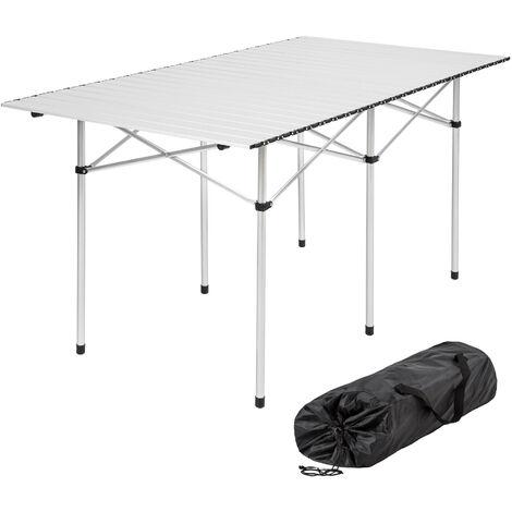 Mesa de aluminio plegable 140x70x70cm - mesa de camping, mesa de picnic, mesa desmontable - gris