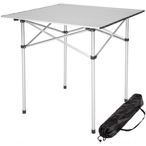 Mesa de aluminio plegable 70x70x70cm - mesa de camping, mesa de picnic, mesa desmontable - gris