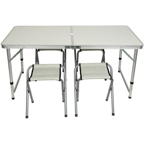 Mesa de aluminio plegable XXL 4 taburetes plegables función de maleta Camping transporte fácil Gris/Blanco jardín Gris-WYCTIN