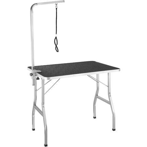 Mesa de aseo con brazo - mesa de peluquería canina, mesa veterinaria plegable para perros con superficie antiarañazos, mesa de exposición para gatos