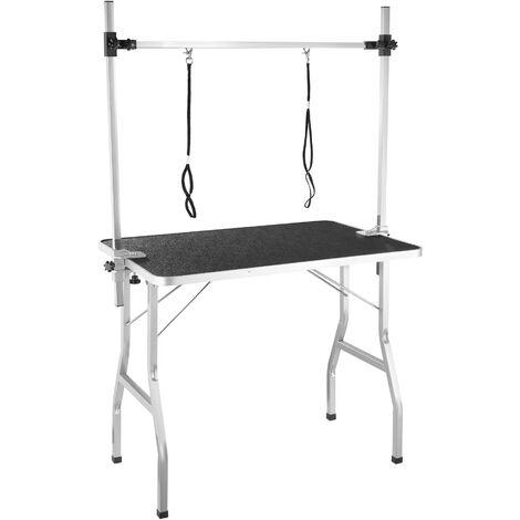 Mesa de aseo con dos lazos - mesa de peluquería canina, mesa veterinaria plegable para perros con superficie antiarañazos, mesa de exposición para gatos - negro/plata