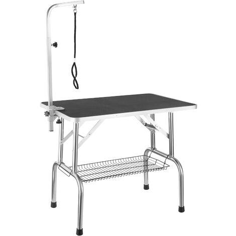 Mesa de aseo con lazo y cesto - mesa de peluquería canina, mesa veterinaria plegable para perros con superficie antiarañazos, mesa de exposición para gatos - negro/plata