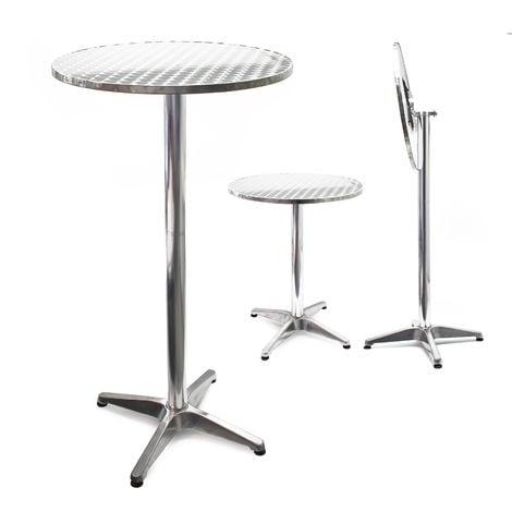Mesa de bar Bistro Aluminio Plegable Altura regulable 74/114 cm Ø 60 cm Exterior Terraza Hostelería