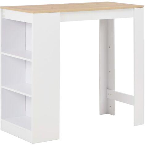 Mesa de bar con estantería blanco 110x50x103 cm