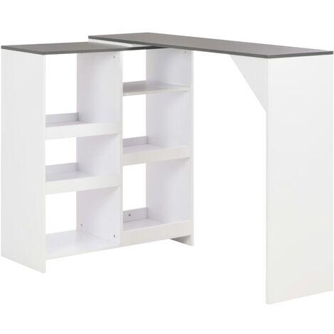 Mesa de bar con estantería móvil blanco 138x40x120 cm