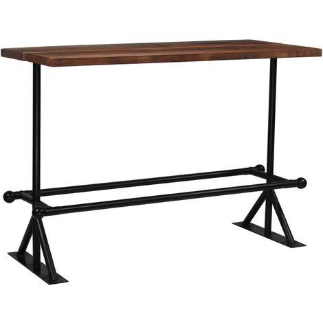 Mesa de bar madera maciza reciclada marrón oscuro 150x70x107 cm