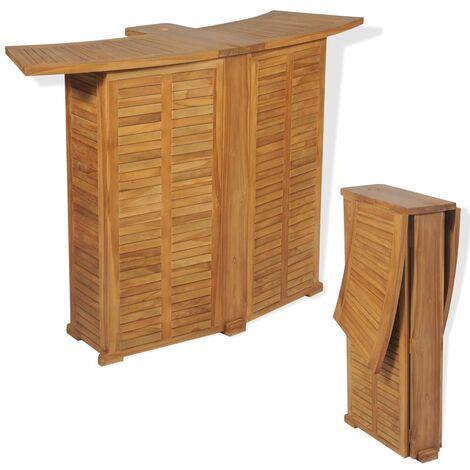 Mesa de bar plegable de madera teca maciza 155x53x105 cm