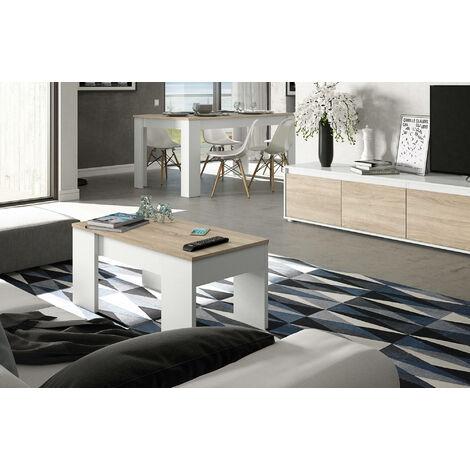 Mesa de café con superficie elevable y espacio de almacenamiento, color blanco y roble, de 100x45x50cm (la altura se puede elevar de 45 a 56cm).