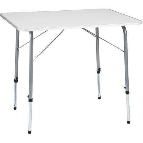Mesa de camping ajustable en altura 80x60x68cm - mesa plegable, mesa de picnic, mesa desmontable - gris