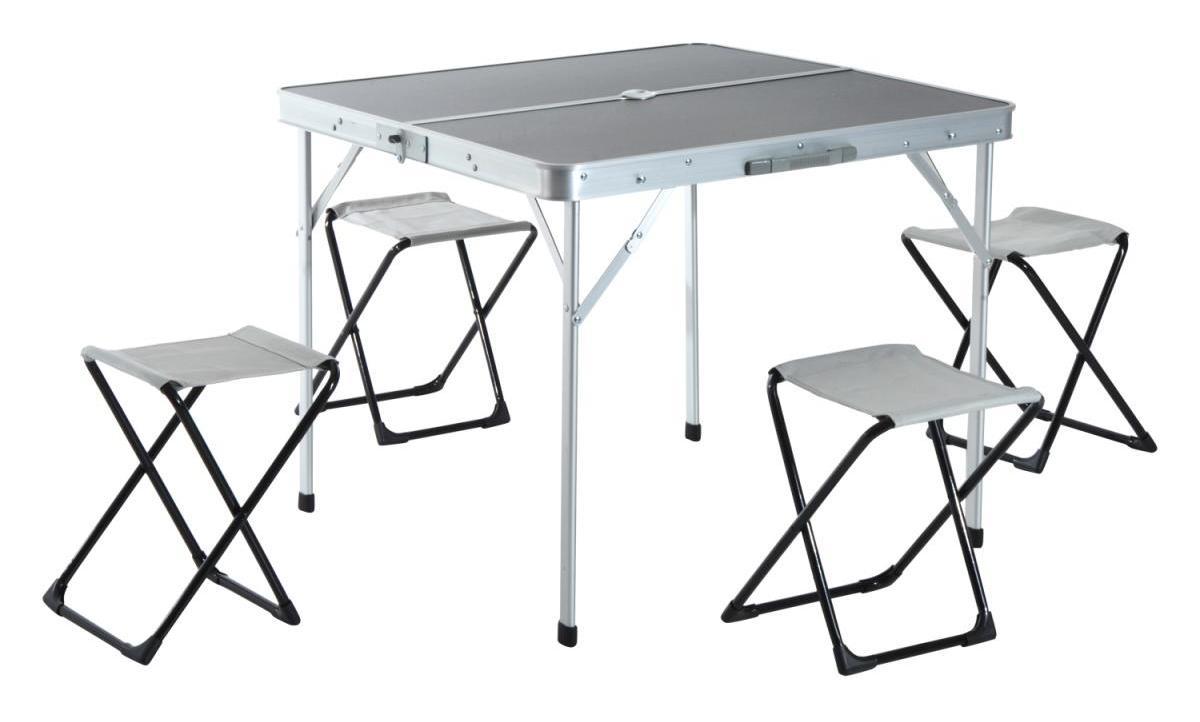 Mesa Plegable De Camping Con 4 Sillas.Mesa De Camping Con 4 Sillas Plegables Aluminio 85 5x80 5x69 5cm