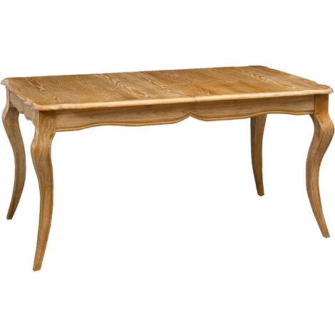 Mesa de campo extensible de madera maciza de olmo con acabado natural