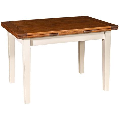 Mesa de campo extensible de madera maciza de tilo, estructura blanca, tapa de nogal envejecido Made in Italy