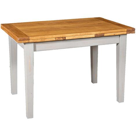 Mesa de campo extensible en madera maciza de tilo con estructura gris envejecida y tablero natural Made in Italy
