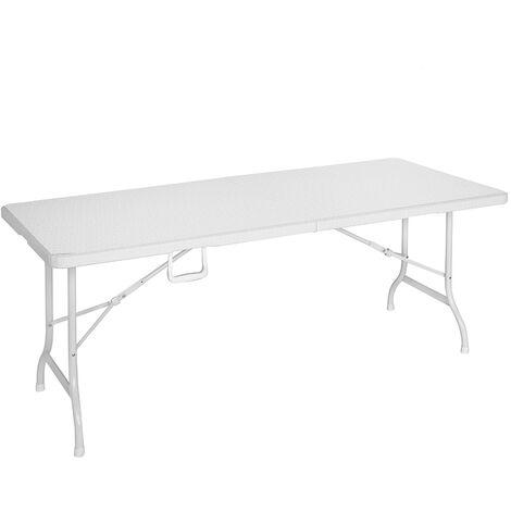 Mesa de catering plegable doble de rattán sintético HDPE blanca de 180x75x72 cm