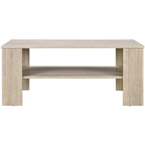 Mesa de centro apariencia roble blanqueado 100 x 60cm mesa de sofá mesa auxiliar