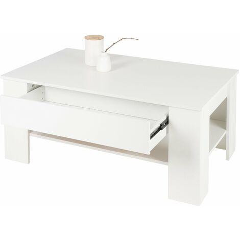 """main image of """"Mesa de centro blanca con cajón mueble auxiliar de salón moderna 110x48x65 cm"""""""