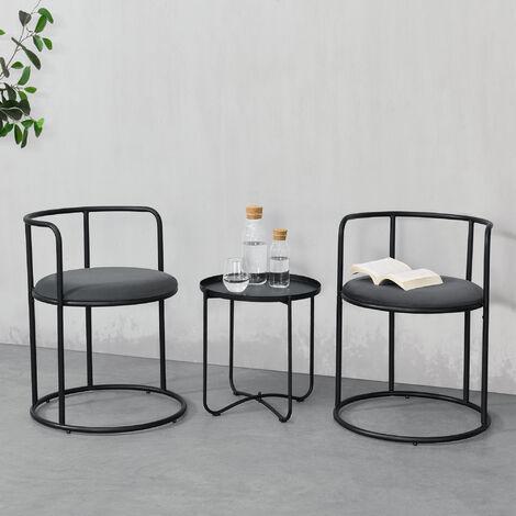 Mesa de centro con 2 sillas Älvkarleby - 45 x 45 cm y 68 x 52,5 cm - Juego de muebles de Salón - Mesa Auxiliar con Tapa extraíble - Silla con Cojín de Asiento Terciopelo - Negro