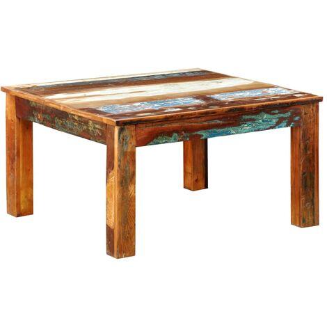 Mesa de centro cuadrada de madera reciclada - Marrón