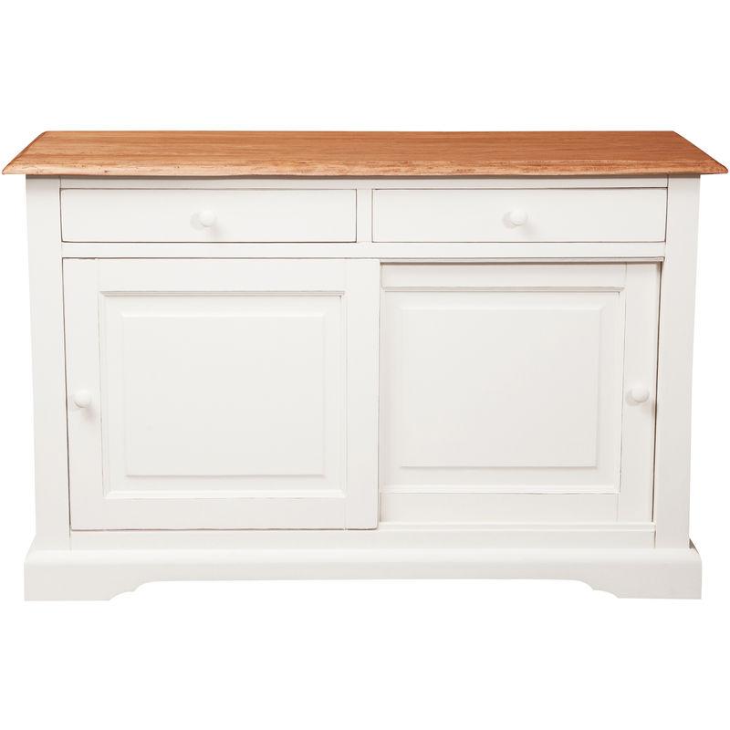 Mesa de centro de estilo Country de madera maciza de tilo armazón blanco envejecido con plan acabada efecto natural 142x50x90 c - BISCOTTINI