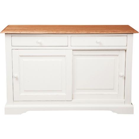 Mesa de centro de estilo Country de madera maciza de tilo armazón blanco envejecido con plan acabada efecto natural 142x50x90 c