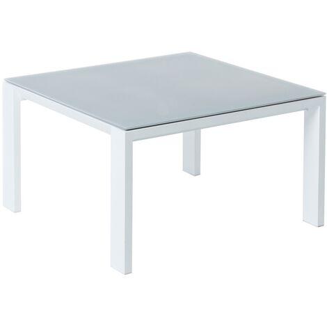 Mesa de centro de exterior blanca de aluminio para terraza Garden