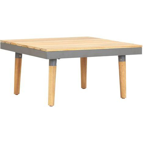Mesa de centro de jardin madera maciza de acacia 60x60x31,5 cm