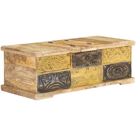 Mesa de centro de madera de mango maciza 100x50x35 cm