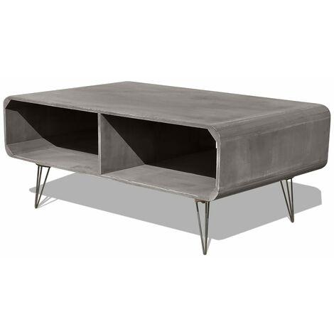 Mesa de centro de madera maciza Paulownia gris 90x55,5x38,5 cm